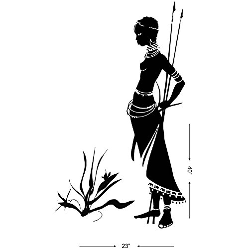 Studio-Briana-African-Tribal-Women-Hunter-Wall-Dcor-Decal-23X40-Inches-Black-0-0